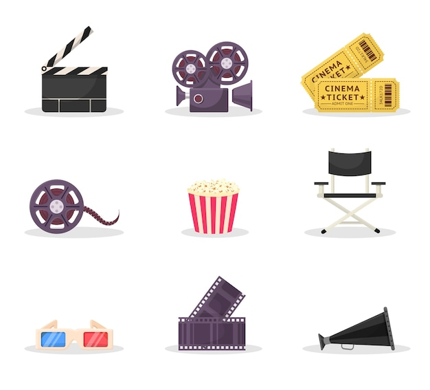 Zestaw ilustracji elementów kinematografii. reżyseria filmowa, produkcja filmowa. bilet do kina, okulary. taśma filmowa, taśma, kliparty na krzesło reżysera. klasyczna klapa filmowa, głośnik, kamera