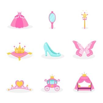Zestaw ilustracji elementów księżniczki. kolekcja ikony różowe bajki. symbole akcesoriów królewskich dziewczyna na białym tle elementy projektu, sukienka, lustro, korona, tiara, powóz, naklejki dekoracyjne na buty