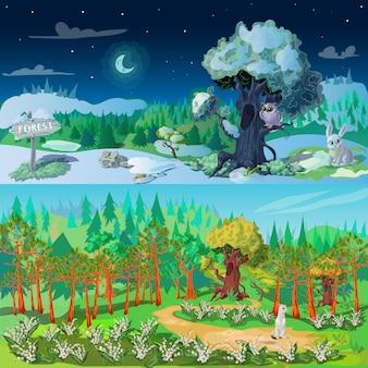 Zestaw ilustracji elementów lasu