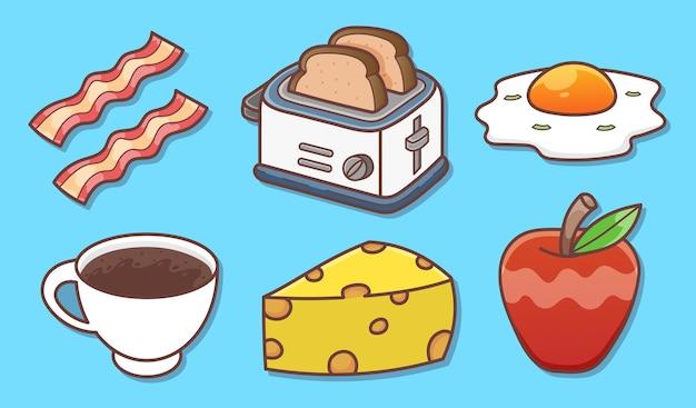 Zestaw ilustracji elementów śniadaniowych