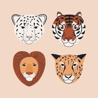 Zestaw ilustracji elementów twarzy głowy zwierząt dżungli portret śnieżny lampart, tygrys, lew i gepard