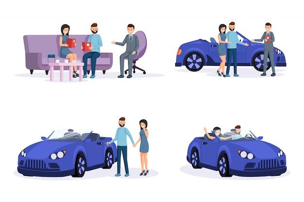Zestaw ilustracji etapów procesu zakupu samochodu
