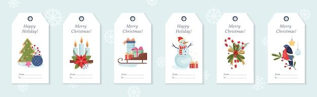 Zestaw ilustracji etykiet na prezent świąteczny. zimowe etykiety i przywieszka do od. element karty nowy rok. dekoracja świąteczna na notatnik