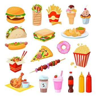 Zestaw ilustracji fast food