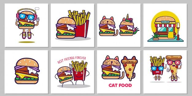 Zestaw ilustracji fastfood