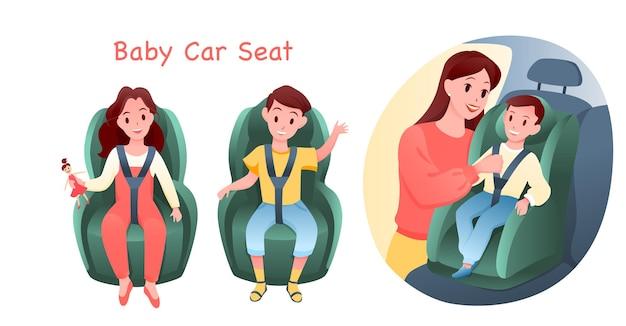 Zestaw ilustracji fotelika samochodowego dla dziecka.