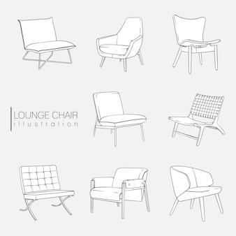 Zestaw ilustracji fotelu