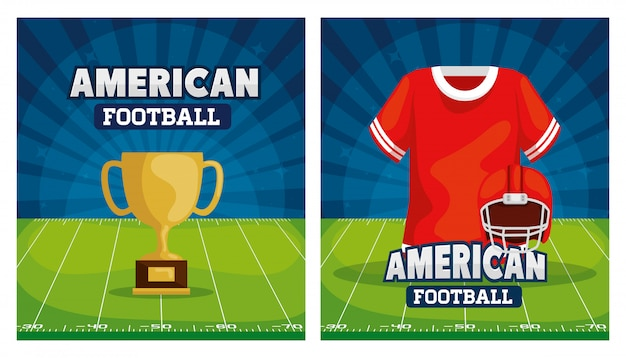 Zestaw ilustracji futbolu amerykańskiego z dekoracją