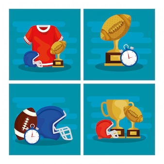Zestaw ilustracji futbolu amerykańskiego