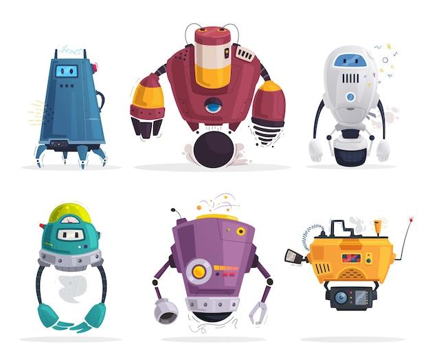 Zestaw ilustracji futurystycznych robotów