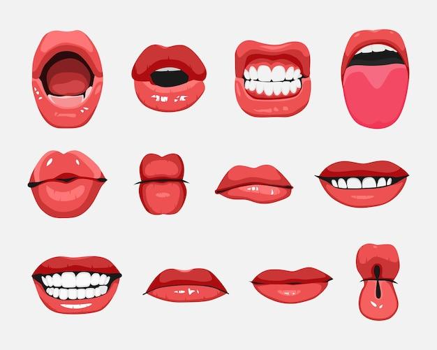 Zestaw ilustracji gesty twarzy wyrażenia ust