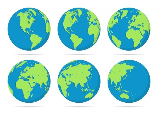 Zestaw ilustracji globusy planety ziemi