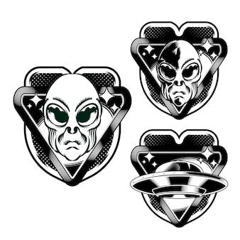 Zestaw ilustracji głowy godła alien badge dla elementu wektora projektu logo odznaka
