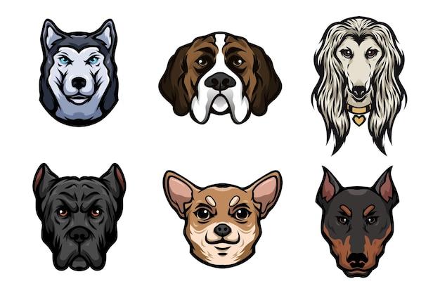 Zestaw ilustracji głowy rasy psów rasy kreskówka