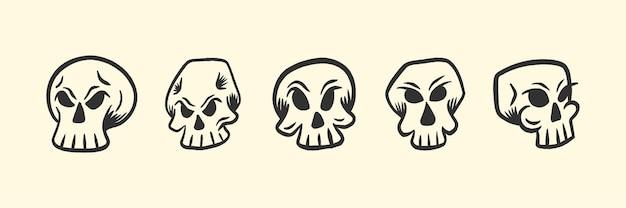 Zestaw ilustracji głowy retro czaszki na koszulkę lub projekt tatuażu