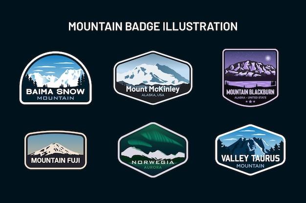 Zestaw ilustracji godło logo odznaka górska