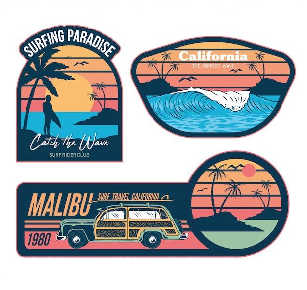Zestaw ilustracji graficznych emblematów w stylu vintage z nadrukami mody na koszulkach ubrania naklejki łatki plakat. styl letnich wakacji w kalifornii z falami surfującymi palmami modne zwroty starych samochodów turystycznych