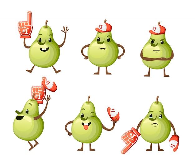 Zestaw ilustracji gruszki. słodka maskotka gruszka. różne emocje owocują piankową ręką numer. ilustracja na białym tle. strona internetowa i aplikacja mobilna
