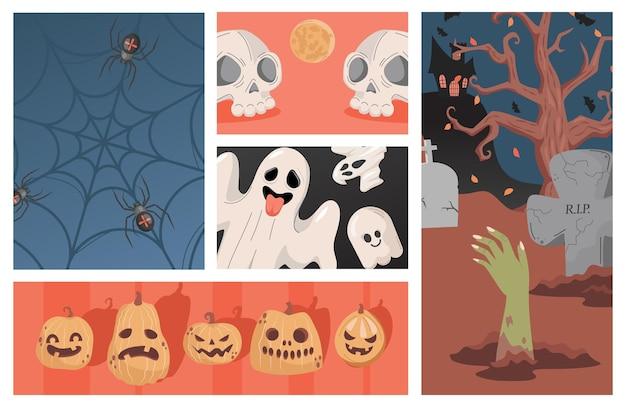 Zestaw ilustracji halloween party brzydkie przerażające duchy dyni