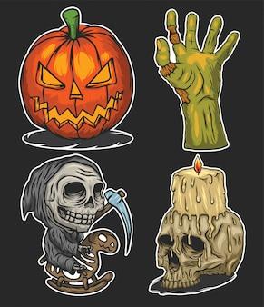 Zestaw ilustracji halloween