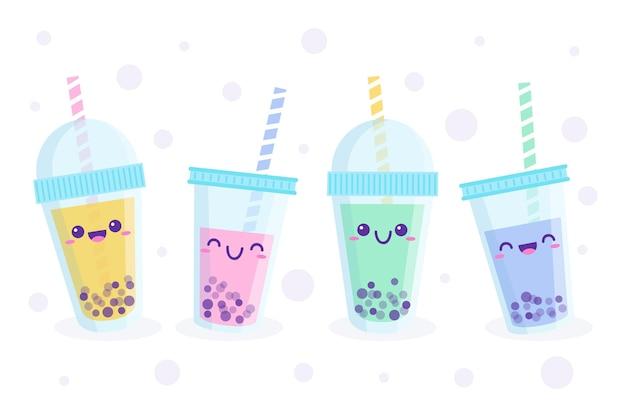 Zestaw ilustracji herbaty bąbelkowej kawaii