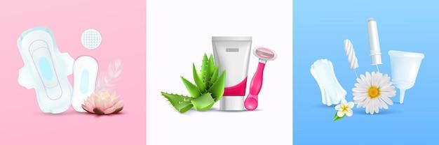 Zestaw ilustracji higieny kobiecej i miesiączki