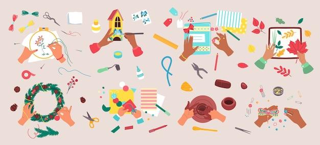 Zestaw ilustracji hobby rzemiosła