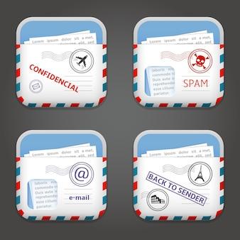 Zestaw ilustracji ikon aplikacji e-mail