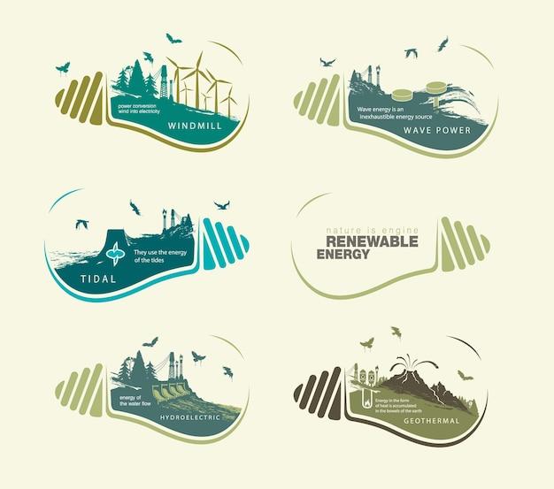 Zestaw ilustracji infografiki z odnawialnych źródeł energii ziemskiej wody i wiatru.