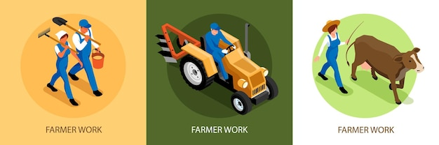 Zestaw ilustracji izometrycznego rolnictwa