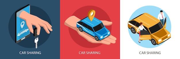 Zestaw ilustracji izometrycznego udostępniania samochodu