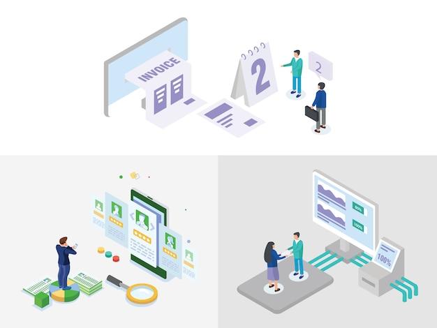 Zestaw ilustracji izometryczny biznes