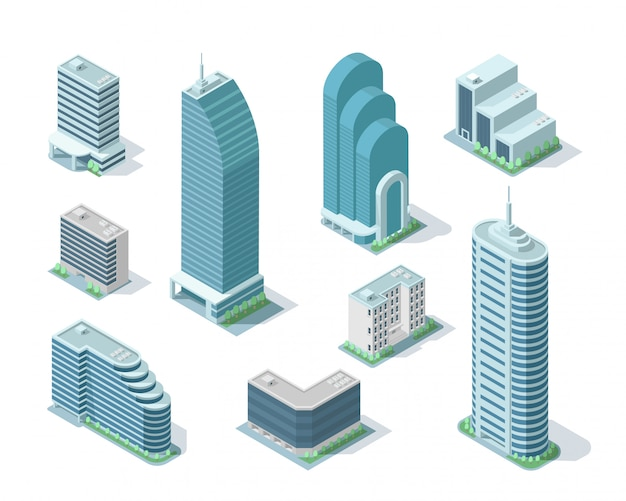 Zestaw ilustracji izometryczny nowoczesny budynek