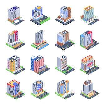 Zestaw ilustracji izometrycznych budynków miasta