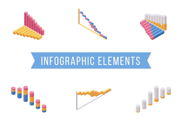 Zestaw ilustracji izometrycznych elementów wykresu słupkowego