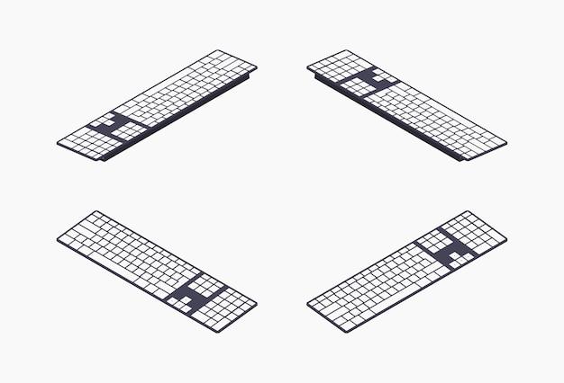 Zestaw ilustracji izometrycznych klawiatur pc