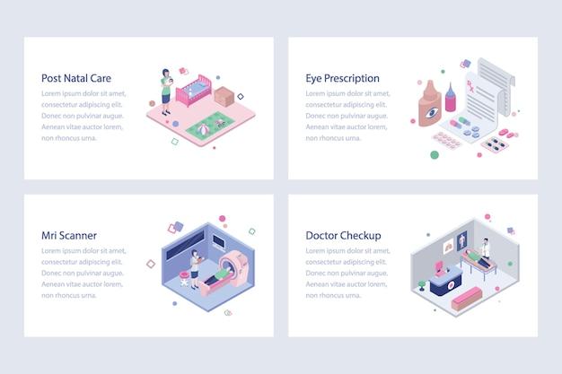Zestaw ilustracji izometrycznych opieki zdrowotnej