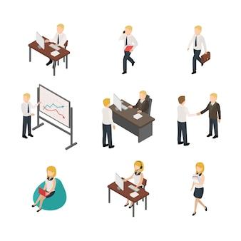 Zestaw ilustracji izometrycznych pracowników biurowych. znaki do negocjacji biznesowych. szkolenie firmowe. rozmowa kwalifikacyjna, zatrudnienie, usługa headhuntingu. koledzy w miejscu pracy