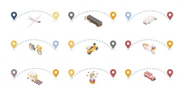 Zestaw ilustracji izometrycznych tras doręczania paczek.