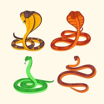 Zestaw ilustracji jadowitego węża na białym tle.