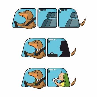 Zestaw ilustracji jamnik taksówkarz samochód