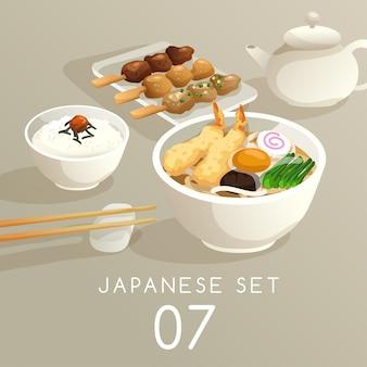 Zestaw ilustracji japońskie jedzenie