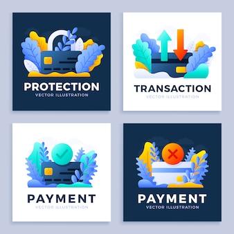 Zestaw ilustracji karty kredytowej. akceptowana płatność, odrzucona płatność, przelew i ochrona