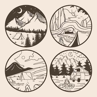 Zestaw ilustracji kempingowych z monogramem