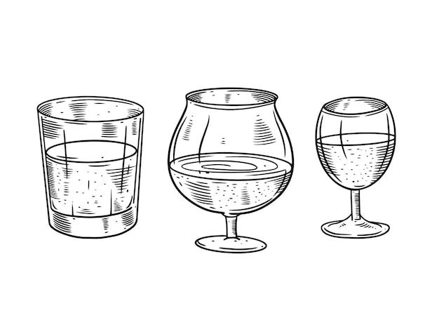 Zestaw ilustracji kieliszków mocnego alkoholu