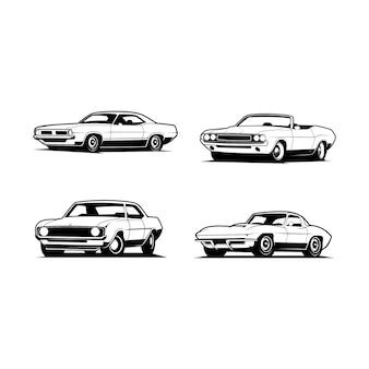 Zestaw ilustracji klasycznego samochodu