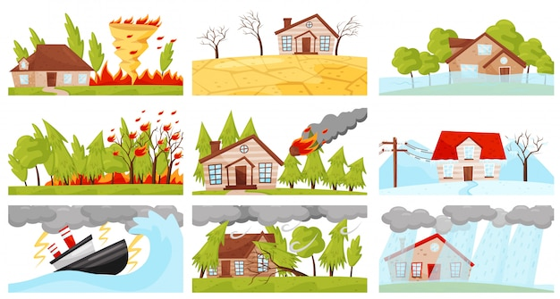 Zestaw ilustracji klęsk żywiołowych. wir ognia, burza z piorunami, pożar, opad meteorytów