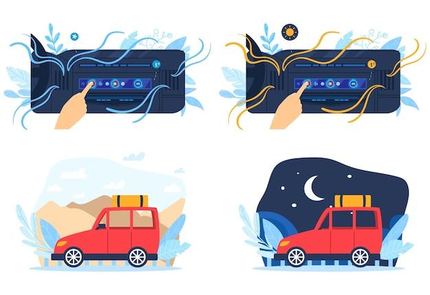 Zestaw ilustracji klimatyzatora samochodowego.