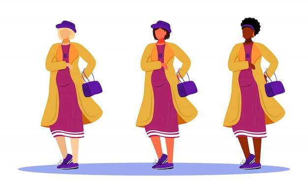 Zestaw ilustracji kobiet w ciąży. aktywne przygotowanie macierzyńskie dla kobiet. trwanie dziewczyny różnych ras czekać dzieci postać z kreskówki na białym tle