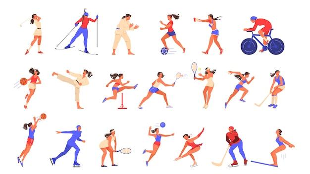 Zestaw ilustracji kobiety uprawiania sportu.